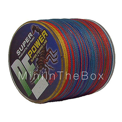 500m 550 yards pe braided line dyneema superline for Colored fishing line