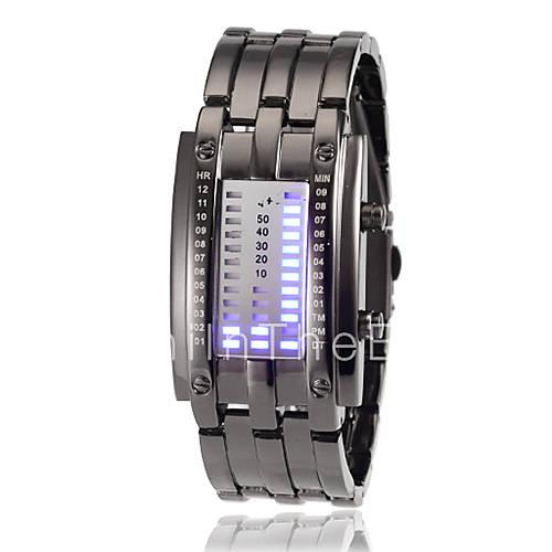 women s digit display blue led digital steel band wrist