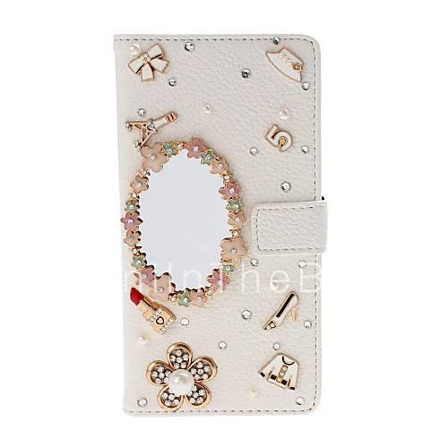 Diy miroir cosm tique avec tui en cuir strass perle for Miroir texture
