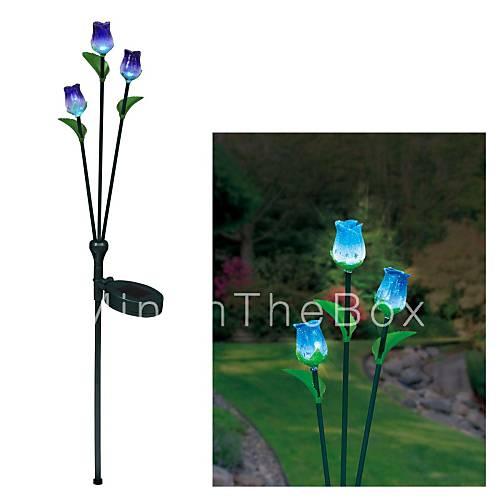 LED Solar Trihead Rose luz de la decoración del jardín de la
