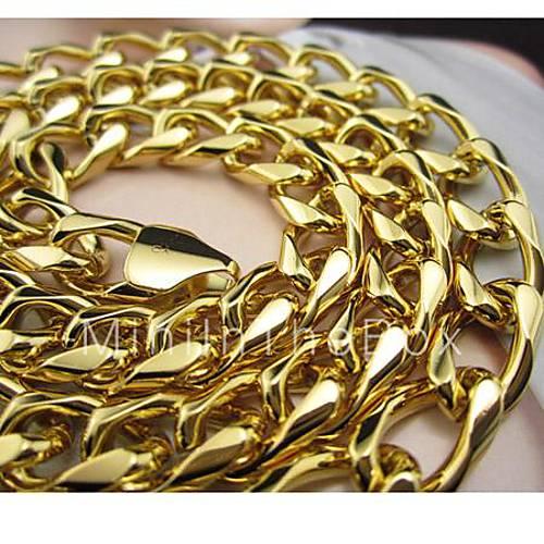Moda Chapado En Oro 14k Amarillo Collar Sólida Cadena De
