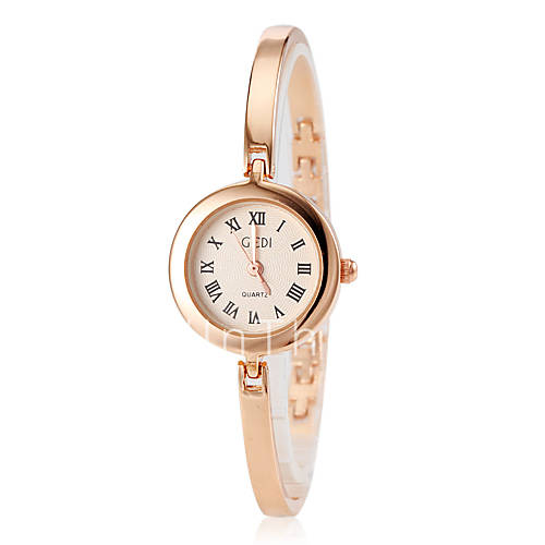 s gold slim alloy band quartz bracelet