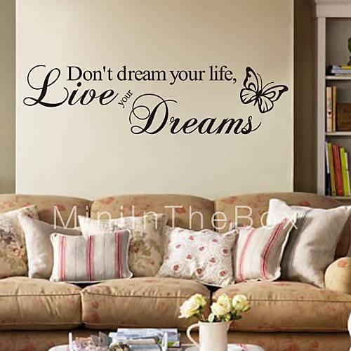 Palabras y frases pegatinas de pared calcoman as de - Calcomanias para paredes ...