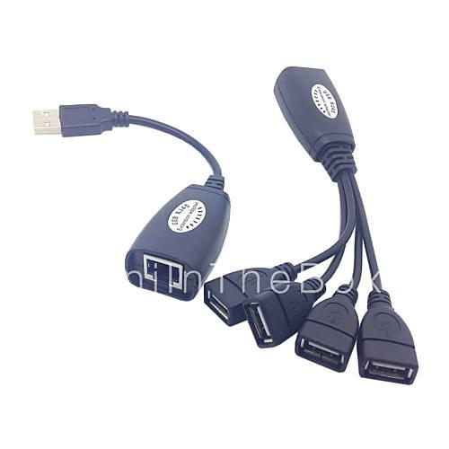 usb tastatur musen over rj45 cat5e cat6 kabel udvidelse extender 4 porte hub kabel adapter. Black Bedroom Furniture Sets. Home Design Ideas