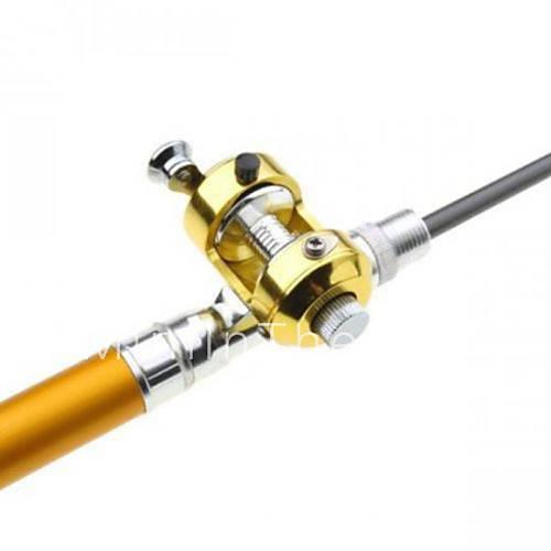 Drum wheel pen shape fishing rod reel golden 1m set for Golden fishing rod