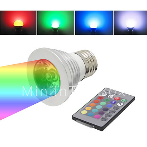 e27 3w 1 led multi colored rgb light bulb w remote control ac 85. Black Bedroom Furniture Sets. Home Design Ideas