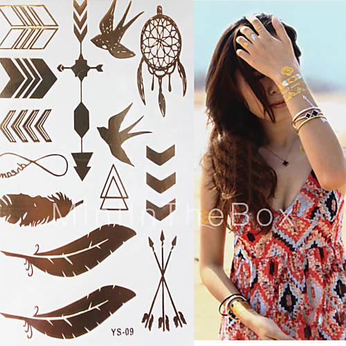 Tattoo Flash Wallpaper By Feathr: Sex Glitter Gold Flash Swallow Feather Pen Tattoo Stickers