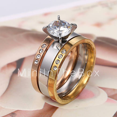 European and American fashion tri color gold and silver rose ring Couple Ring