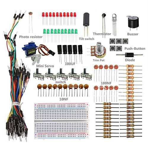 Basic starter kit w breadboard jumper wires color led
