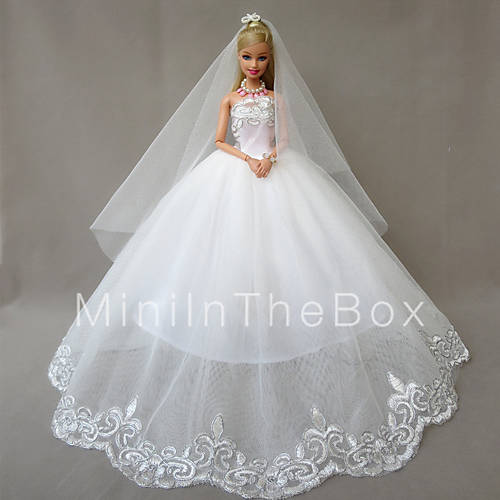 Wedding Dresses For Barbie Doll White Dresses For Girl's