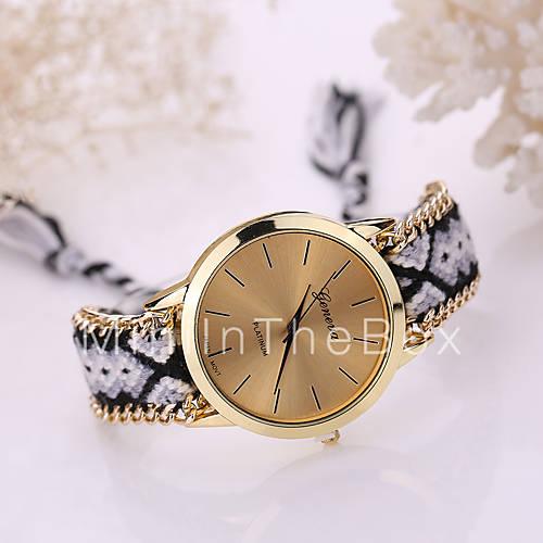 femme montre tendance bracelet de montre quartz tissu. Black Bedroom Furniture Sets. Home Design Ideas