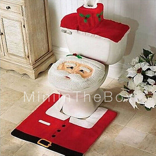 Quality Flannel Seat Cover Rug Foot Pad Water Tank Set Towel Cover Bathroom Se Santa Claus