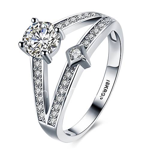 Ring AAA Cubic Zirconia Platinum Plated Simulated Diamond Silver Jewelry Wedd