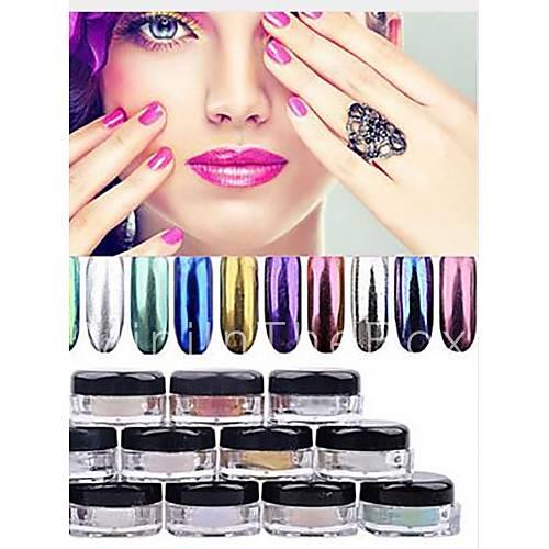 12 colore delle unghie polvere d 39 oro in polvere cromata a specchio pigmento in polvere ultrafine - Unghie polvere specchio ...